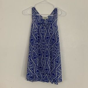 Umgee Aztec Blue and White Sleeveless Top Medium